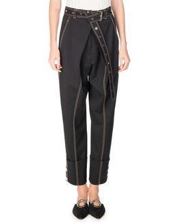 Topstitched Pleat-front Pants