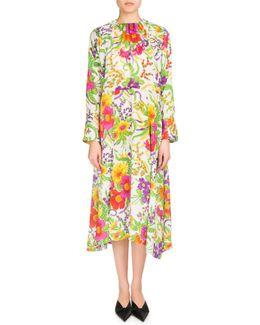 Grand Floral Jacquard Long-sleeve Dress