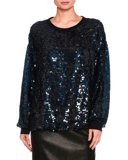 Sequined Cotton Sweatshirt
