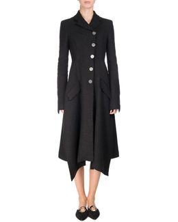 Asymmetric Notch-collar Tweed Coat