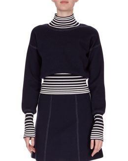 Striped Turtleneck Combo Top
