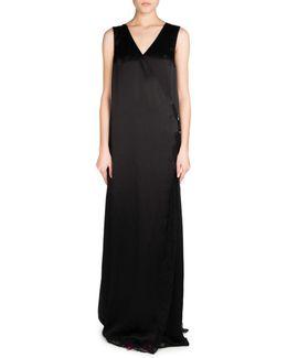 Sleeveless Fluid Satin Wrap Gown