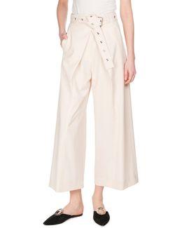 Pleat-front Cotton Culottes