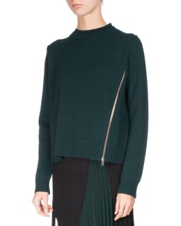 Knit Pullover Sweater W/zip Detail