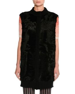 Fur Gilet With Knit Back