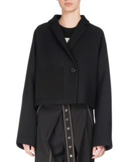 Cropped One-button Wool Coat
