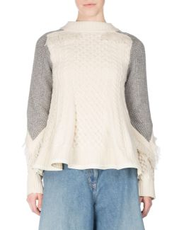 Cable-knit Swing Pullover Sweater