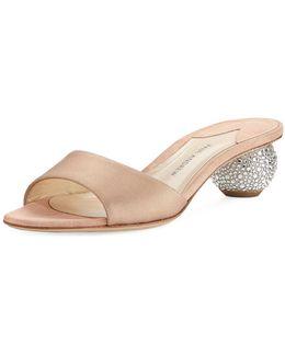 Arco Satin Crystal-heel Slide Sandal