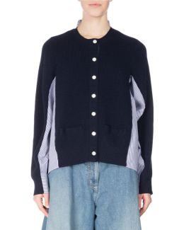 Ribbed Knit Cardigan W/poplin Panels