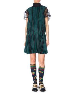 Pleated Drop-waist Satin Dress