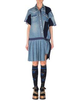 Short-sleeve Patchwork Denim Shirtdress
