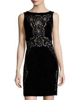 Sleeveless Lace-trim Velvet Dress