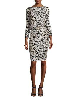 Belted Long-sleeve Cheetah-print Dress