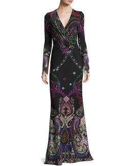 Magic Carpet Paisley-print Long-sleeve Gown