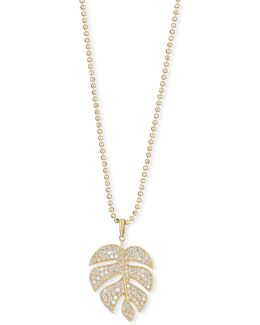 Pavé Diamond Monstera Leaf Necklace