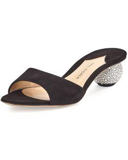 Arco Suede Crystal-heel Slide Sandal