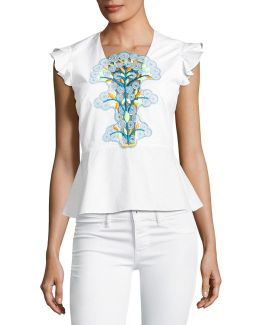 Embroidered Cap-sleeve Peplum Top