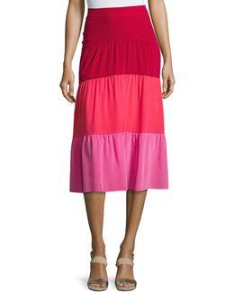 Colorblock Paneled Midi Skirt