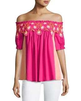 Paneled Off-the-shoulder Lace-trim Top
