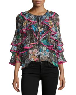 Tiered Frill-sleeve Botanical-print Blouse