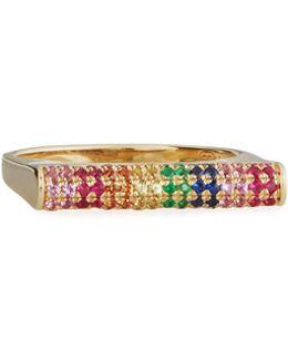 Pavé Rainbow Sapphire Roll Bar Ring