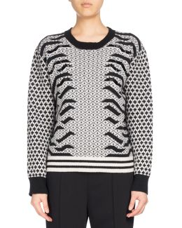 Crew Neck Embellished Mixed-print Sweater