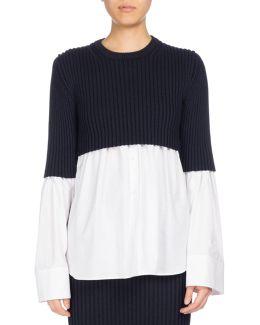 Mixed-knit Long Sleeve Top