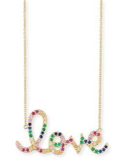 Large Rainbow Sapphire Love Necklace