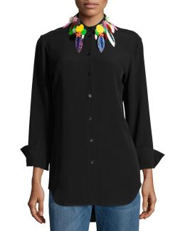 Button-down Blouse W/embellished Collar