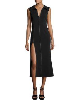Sleeveless Side-slit Midi Dress