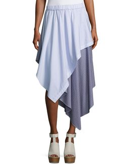 Cody Stripe Asymmetric Cotton Skirt
