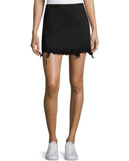 Faded Denim Zip-back Mini Skirt