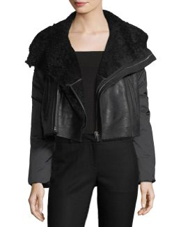 Boxy Shearling-lined Moto Jacket