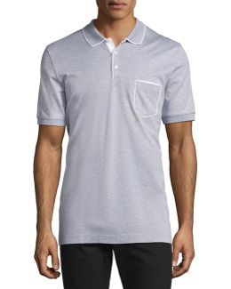 Cotton 3-button Polo Shirt With Gancini Detail On Pocket