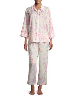 Orchid Spray Cotton Pajama Set