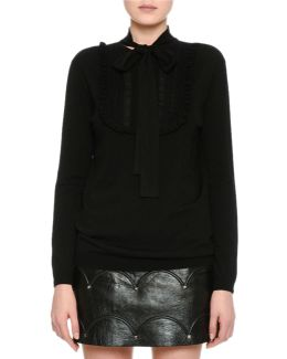 Long-sleeve Lace-placket Sweater
