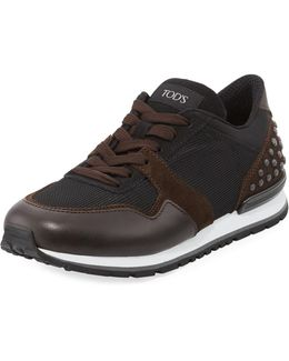 Men's Mesh & Leather Trainer Sneaker