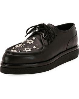 V Creep Leather Lace-up Platform Shoe