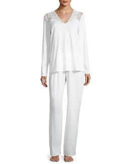 Daphne Lace-trim Pajama Set