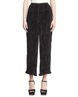 Crescent Pleated Flare Cropped Pants
