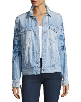 Distressed Boyfriend Jacket W/blue Roses