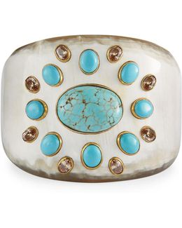 Bendi Turquoise & Orange Zircon Tapered Cuff