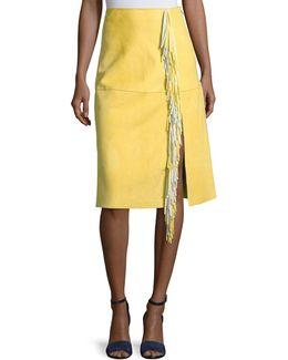 Side-slit Fringe Suede Skirt