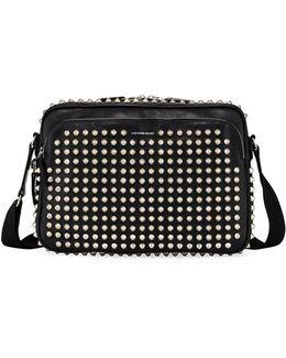 Studded Leather Messenger Bag