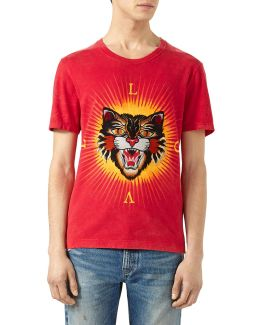 Cotton T-shirt With Angry Cat Appliqu & #233