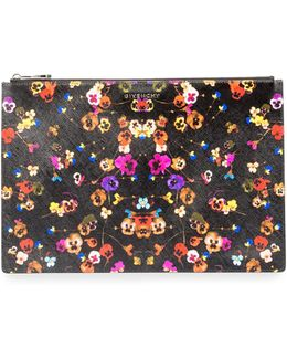 Iconic Prints Night Pansy Large Pouch Bag