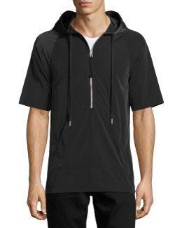 Side-zip Short-sleeve Nylon Hoodie