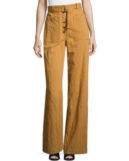 Trek High-waist Belted Wide-leg Pants