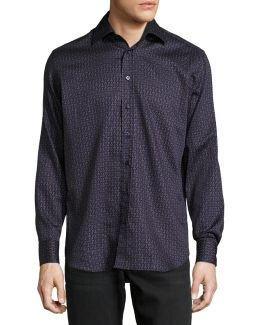 Lined-dot Cotton Shirt