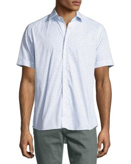 Topography-print Short-sleeve Cotton Shirt